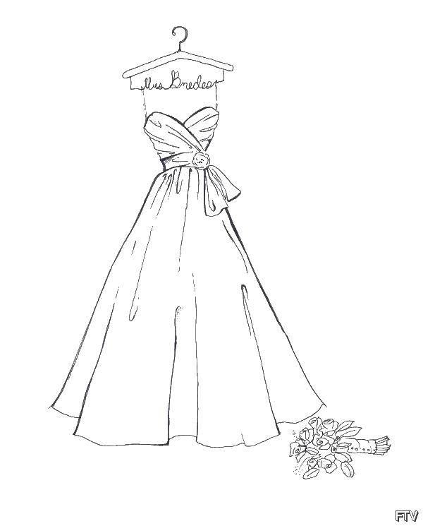 Раскраска Свадебное платье на вешалке и букет Скачать платье, букет, вешалка.  Распечатать ,свадебные платья,
