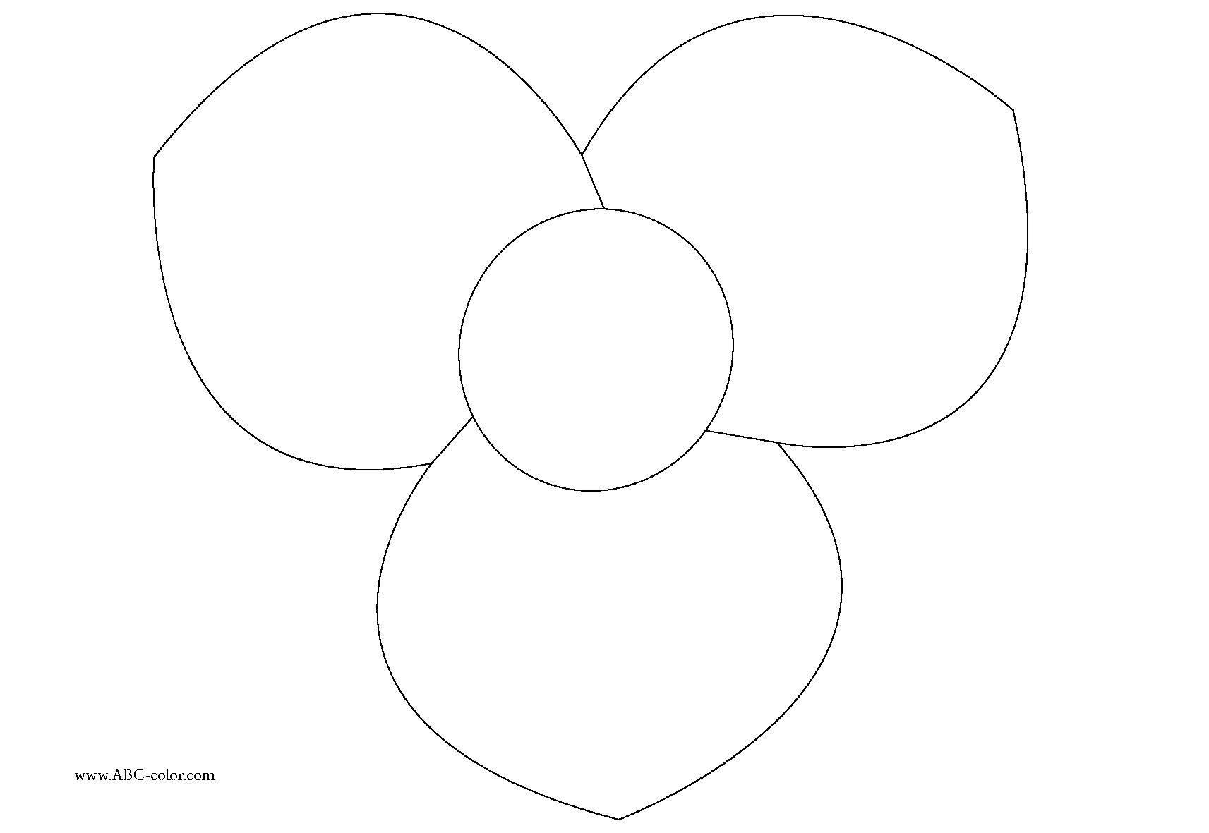 Раскраска Три лепестка. Скачать цветы, цветочки, лепесточки.  Распечатать ,цветы,