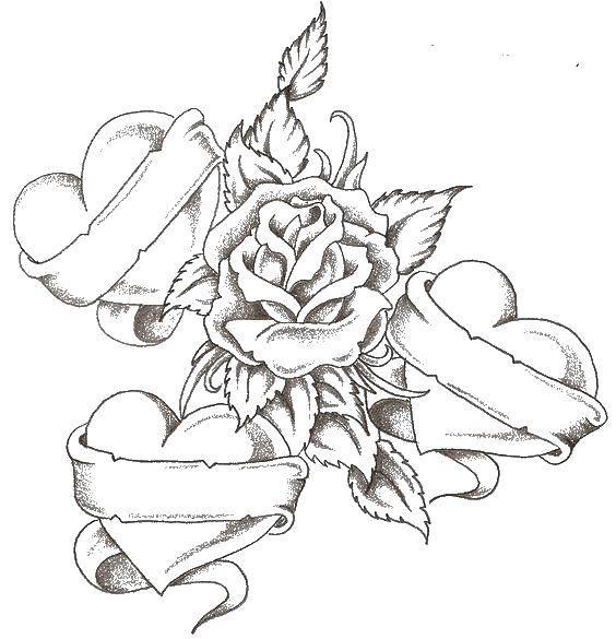 Раскраска Три сердца и роза Скачать сердце, роза, лента.  Распечатать ,Сердечки,