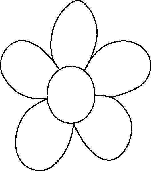 Раскраска Цветок и пять лепестков. Скачать контур, ромашка, лепестки.  Распечатать ,Контуры цветка для вырезания,