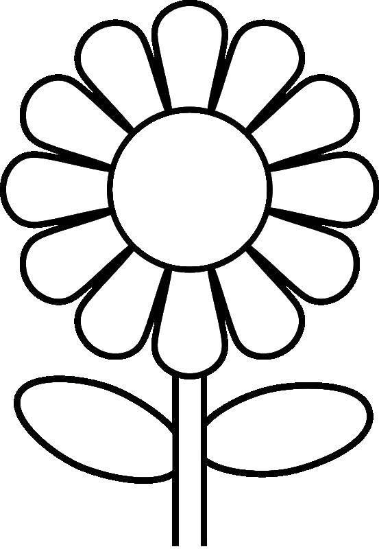 Раскраска Цветок на стебельке Скачать цветок, стебель, листья.  Распечатать ,Контуры цветка для вырезания,