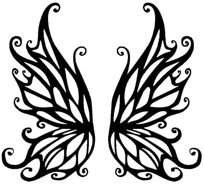 Раскраска Узорные крылья. Скачать крылья, узорчики.  Распечатать ,раскраски,