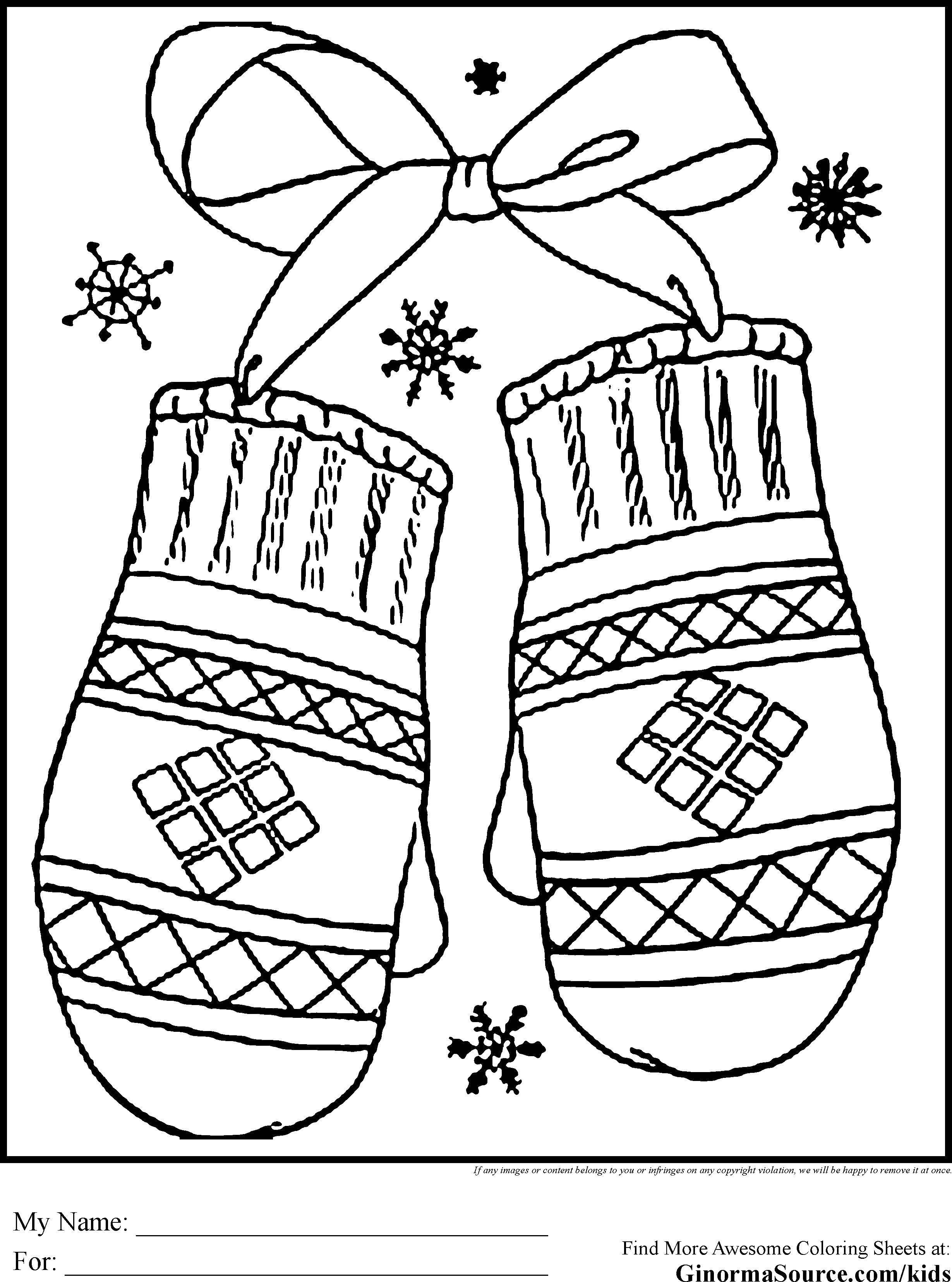 Раскраска Варежки и снежинки. Скачать варежки, снежинки, бантик.  Распечатать ,зима,