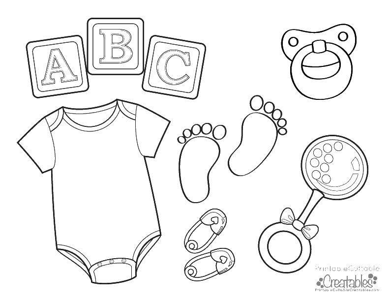 Раскраска Вещи для младенца Скачать боди, пустышка, погремушка.  Распечатать ,дети,