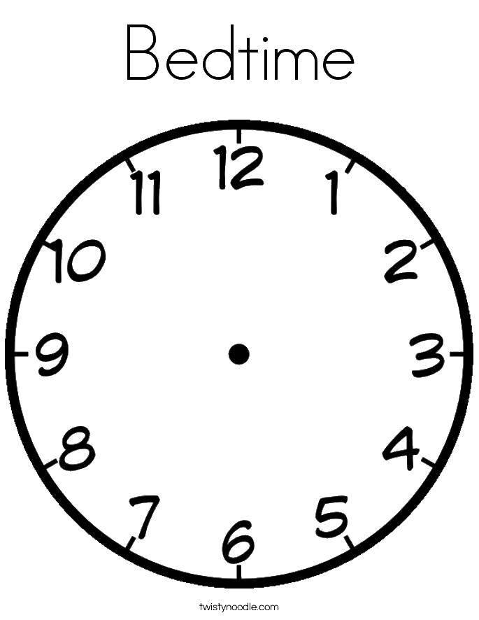 Раскраска Время для сна Скачать часы, цифры.  Распечатать ,часы,