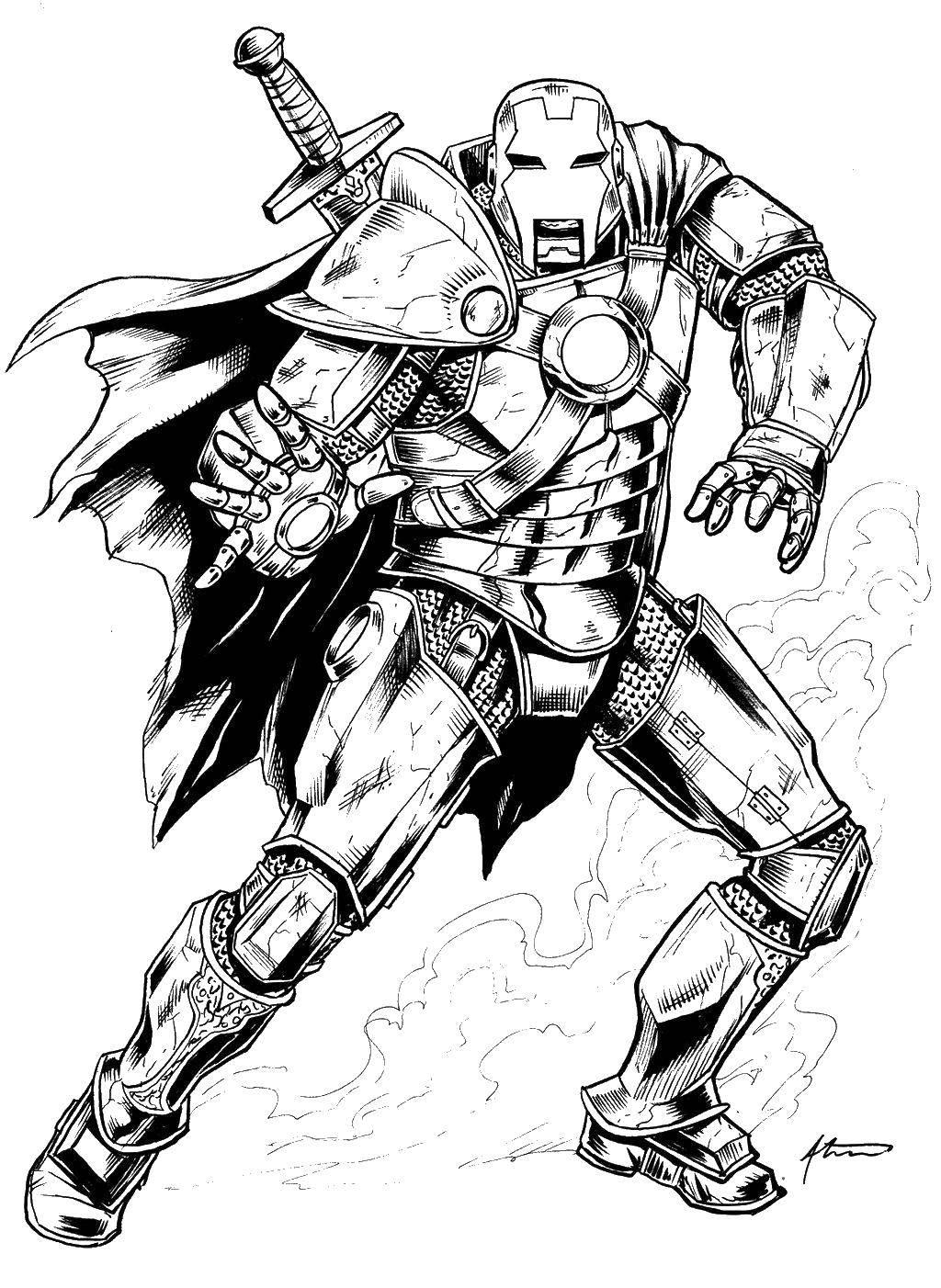 Раскраска Железный человек в плаще Скачать железный человек, костюм, мстители.  Распечатать ,мстители,