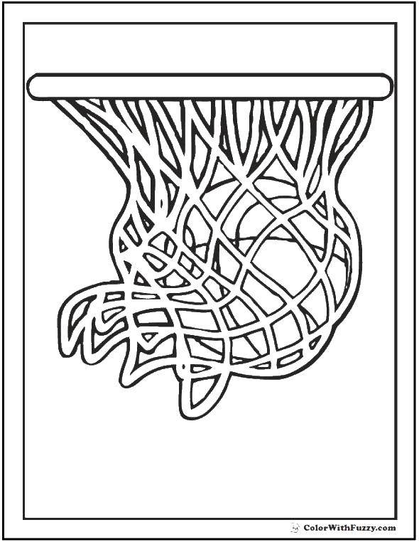 Online Coloring Pages Coloring Page Basketball Ball In The Basket