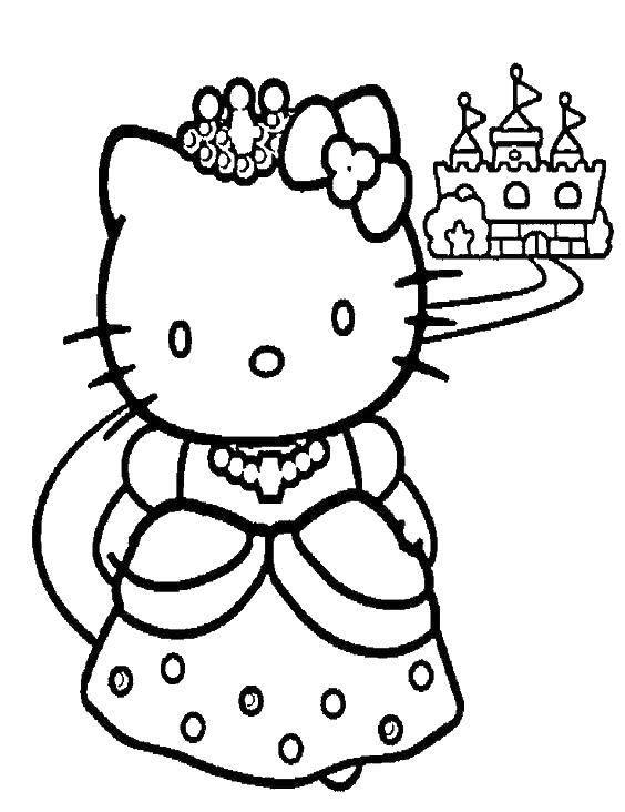 Название: Раскраска Hello kitty и замок. Категория: Hello Kitty. Теги: Hello Kitty, замок, корона.