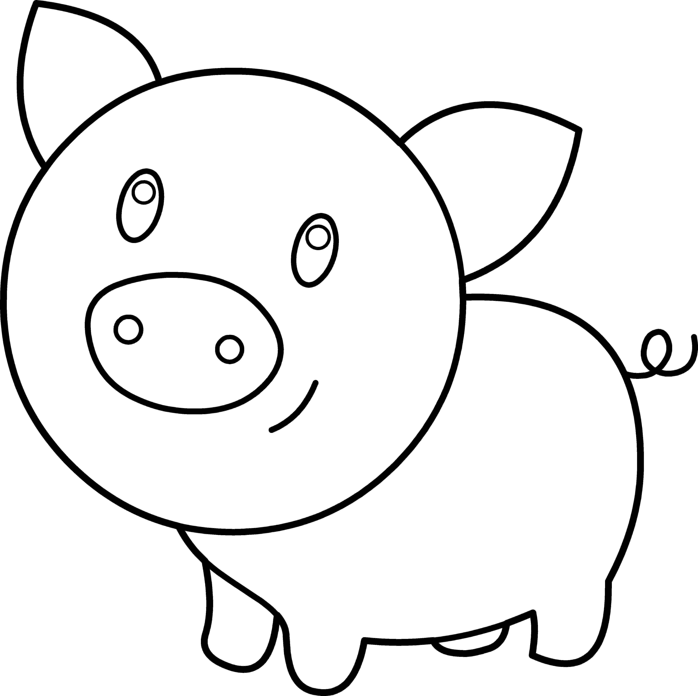 Название: Раскраска Контур поросенка. Категория: Контур свиньи для вырезания. Теги: поросенок, контур, ушки, хвостик.