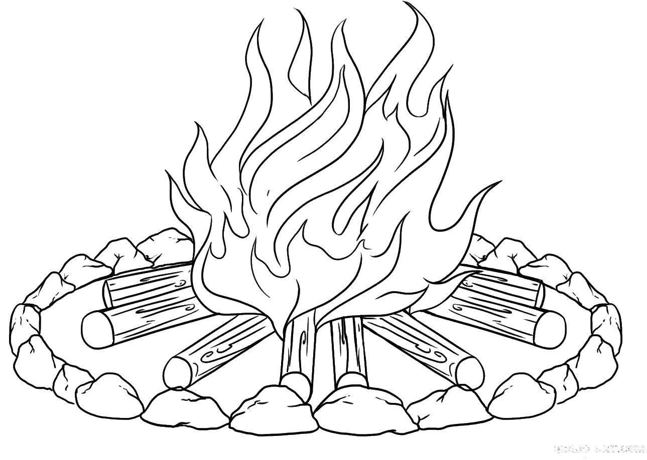 раскраски бревна раскраска костер и бревна огонь