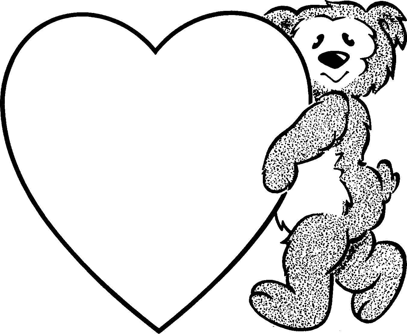 раскраски сердечки раскраска мишка и сердечко сердечки