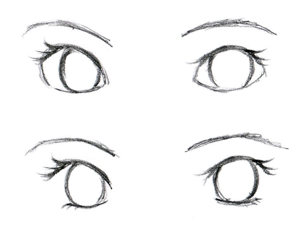 Раскраска 2 пары глаз. Скачать глаза, глазки.  Распечатать ,контур глаза,