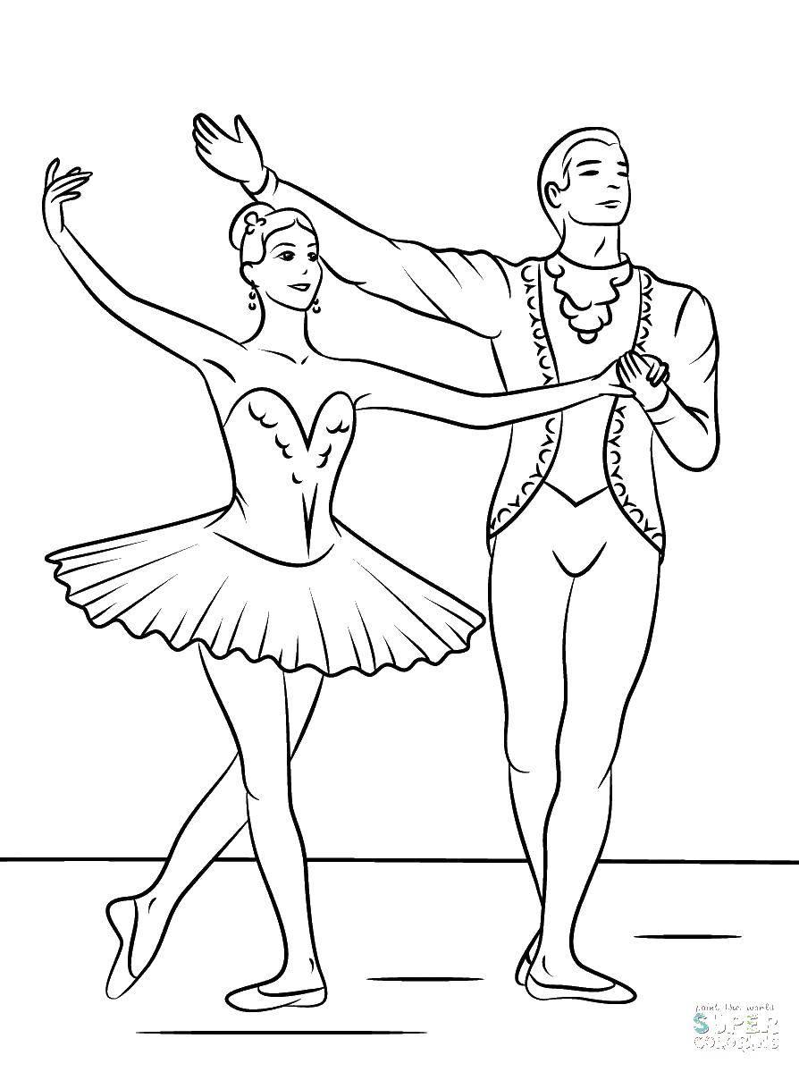 Раскраска Балерун и балерина Скачать балерина, балет, танцы.  Распечатать ,балерина,