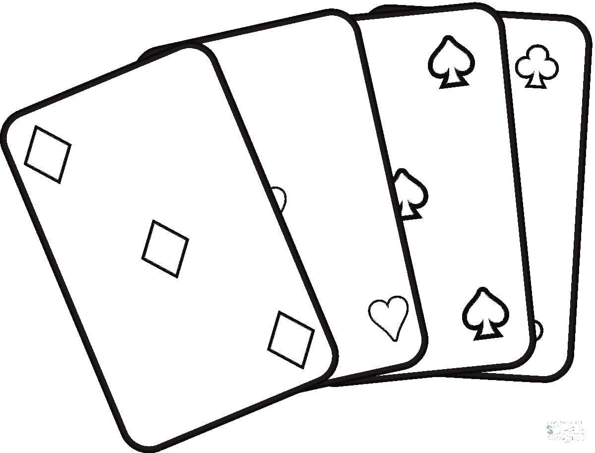 Раскраска Четыре карты Скачать карта, пики, крести, бубни.  Распечатать ,игры,