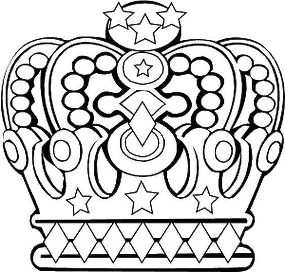 Раскраска Чудная корона Скачать Король, королева.  Распечатать ,Корона,