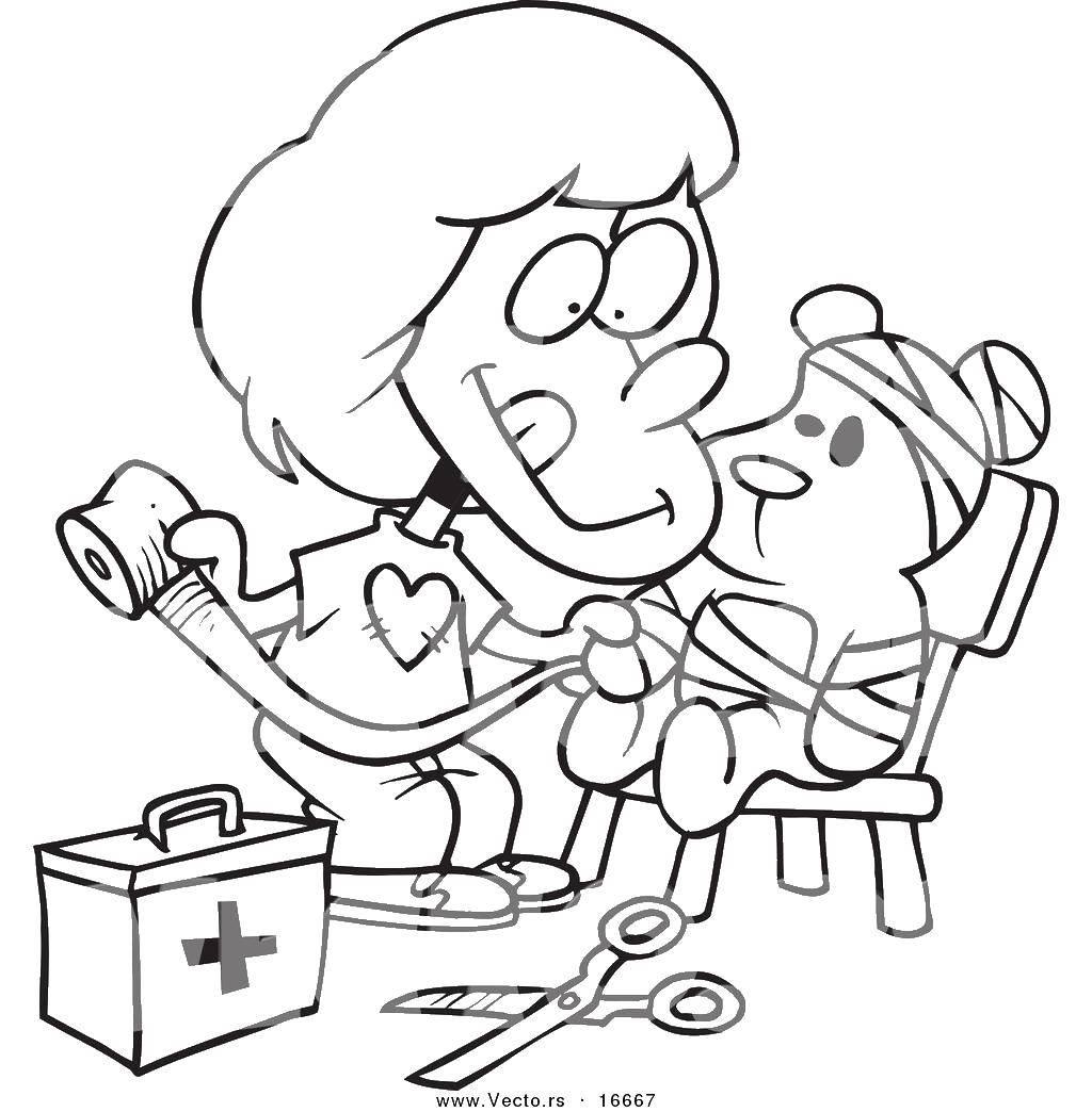 Раскраска Девочка и больной мишка Скачать девочка, мишка, бинты.  Распечатать ,Медицинские раскраски,