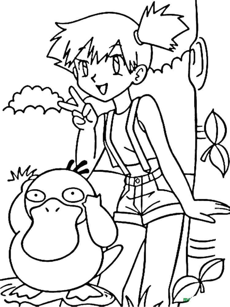 Раскраска Девочка и покемоны Скачать девочка, покемоны, листья.  Распечатать ,покемоны,