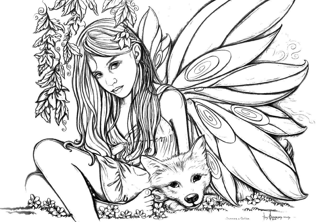 Раскраска Девочка и собачка Скачать ,фэнтези, девушка, фея, собачка,.  Распечатать