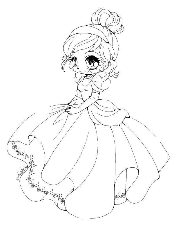 Раскраска Девочка принцесска Скачать девочки, принцесска.  Распечатать ,Девочка,