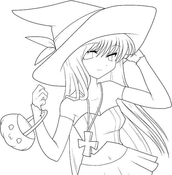 Раскраска Девочка ведьма. Скачать ведьма, аниме.  Распечатать ,ведьма,