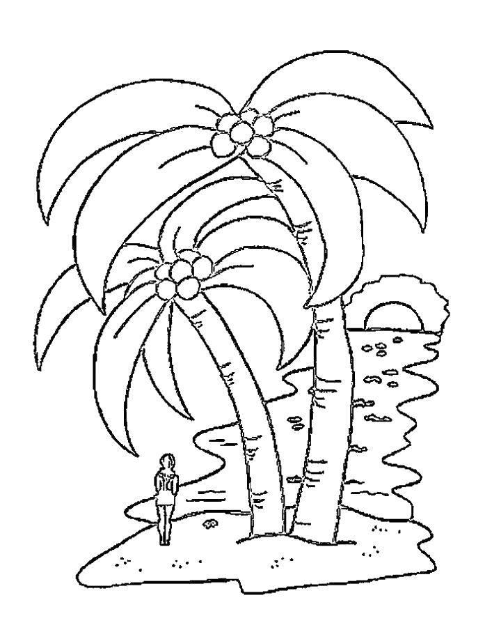 Раскраска Девушка на острове. Скачать Остров.  Распечатать ,остров,