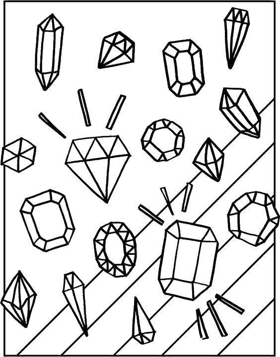 Раскраска Драгоценные камушки Скачать Драгоценности.  Распечатать ,кольцо,