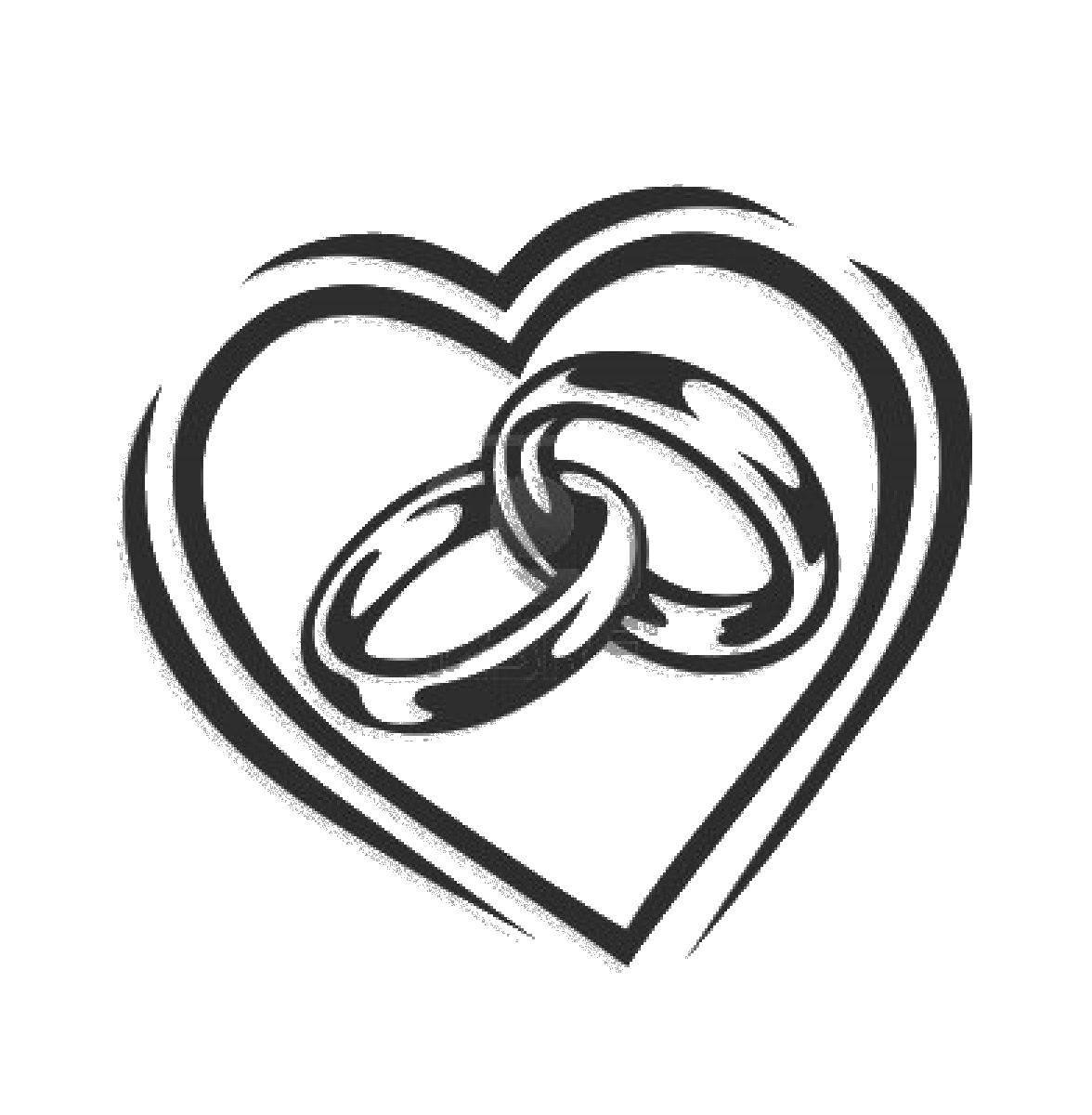 Раскраска Два обручальных кольца. Скачать кольца, украшения, драгоценности.  Распечатать ,кольцо,