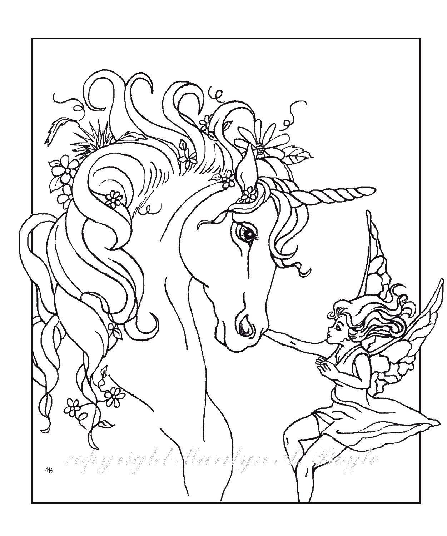 Раскраска Единорог и фея Скачать Единорог, фея.  Распечатать ,Волшебные создания,