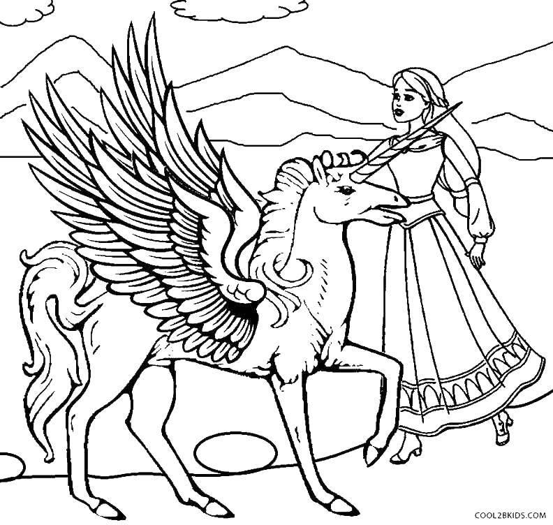 Раскраска Единорог и принцесса Скачать пегасы, единорог принцесса.  Распечатать ,раскраски,