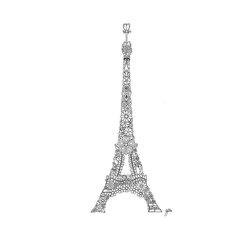 Раскраска Эйфелева башня из цветов Скачать Антистресс.  Распечатать ,раскраски антистресс,