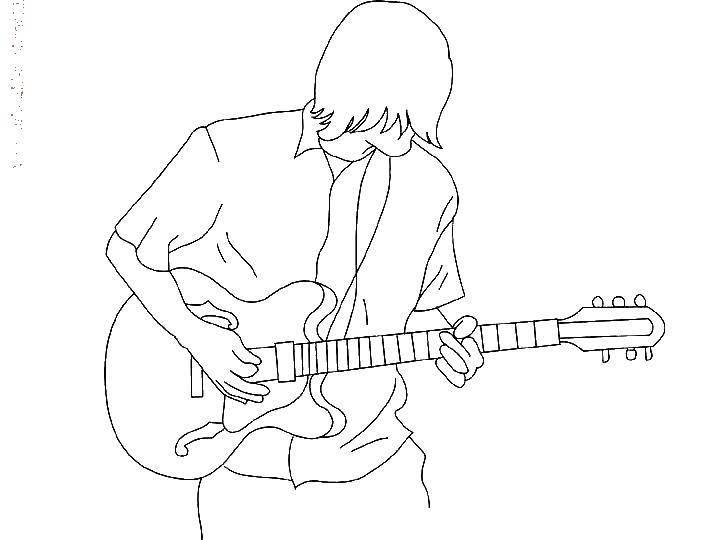 Раскраска Гитарист. Скачать музыка, гитара, гитарист.  Распечатать ,Музыкальный инструмент,