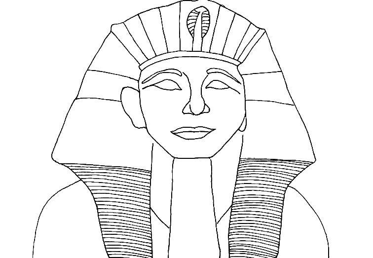 Раскраска Голова фараона. Скачать Мумия.  Распечатать ,Мумия,
