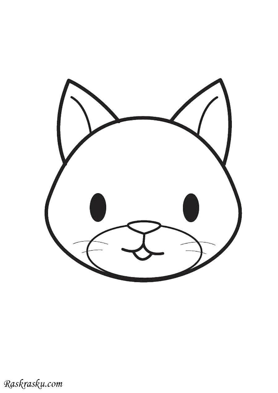 Раскраска Голова котенка. Скачать голова, котенок, ушки.  Распечатать ,котики,