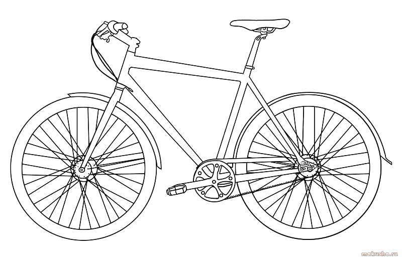 Раскраска Хороший велосипед Скачать Транспорт, велосипед.  Распечатать ,раскраски,