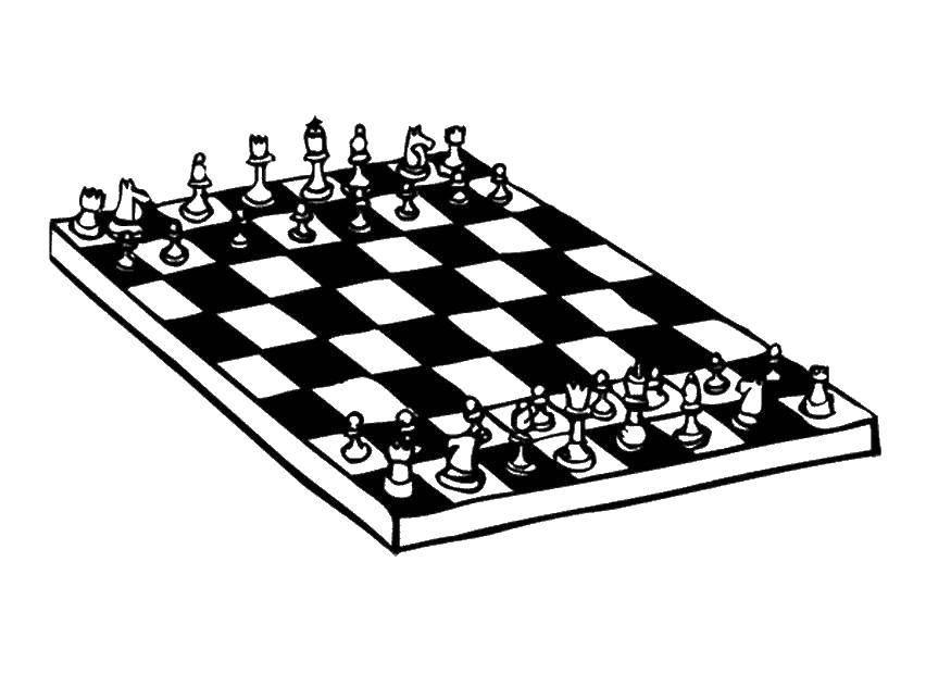 Раскраска Игра шахматы Скачать игра, спорт, шахматы.  Распечатать ,Шахматы,