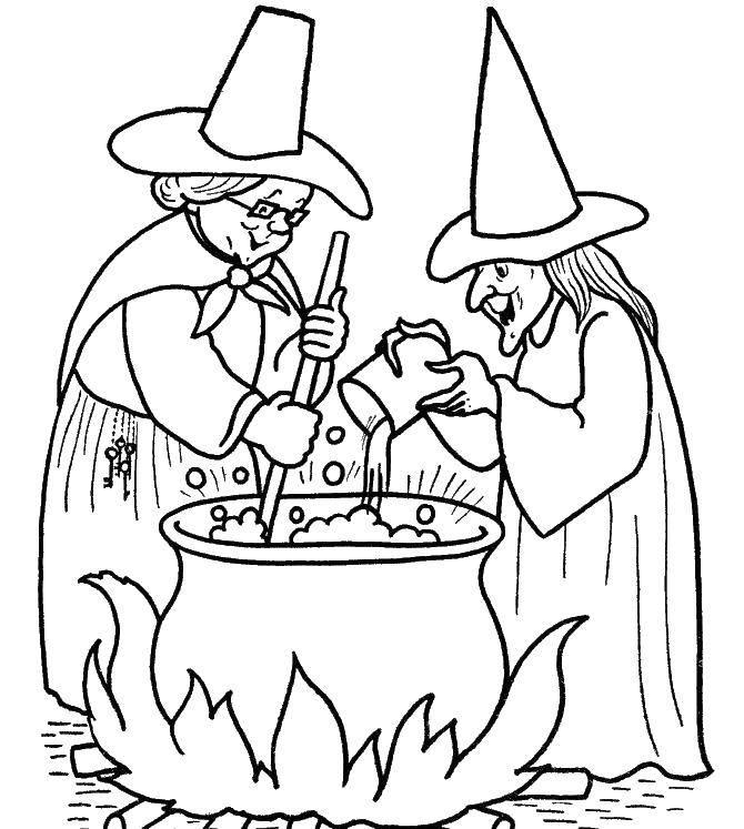 Раскраска Колдуньи варят отвар. Скачать ведьмы, колудьни.  Распечатать ,ведьма,