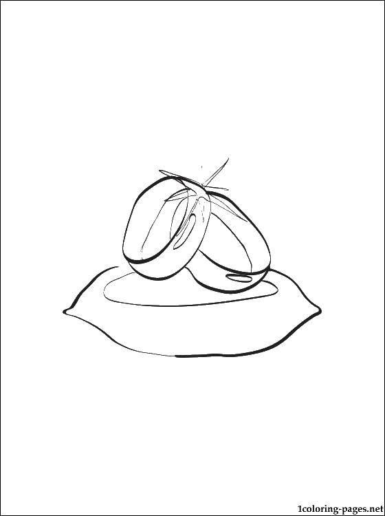 Раскраска Кольца на подушечке Скачать кольца, колечки, бракосочетание.  Распечатать ,кольцо,