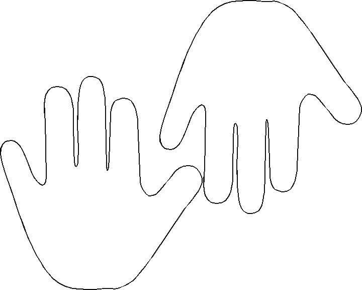 Раскраска Контур двух ладошек Скачать контур, ладони, пальцы.  Распечатать ,Контур руки и ладошки для вырезания,