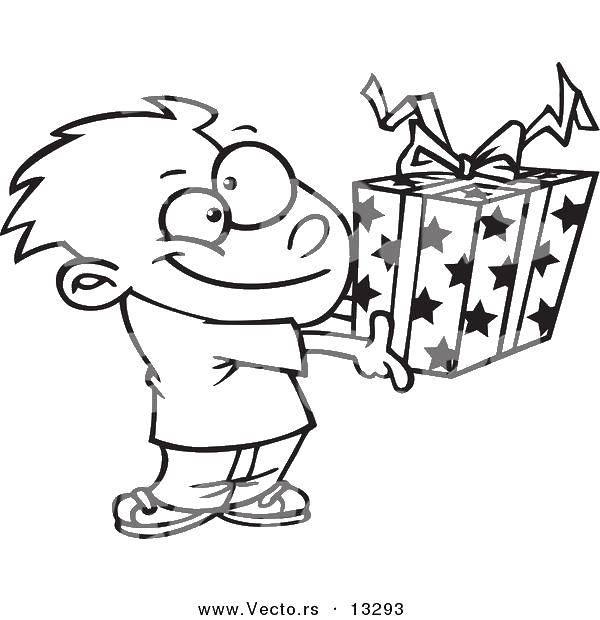 Раскраска Коробка со зведочками. Скачать Подарки, праздник.  Распечатать ,раскраски,