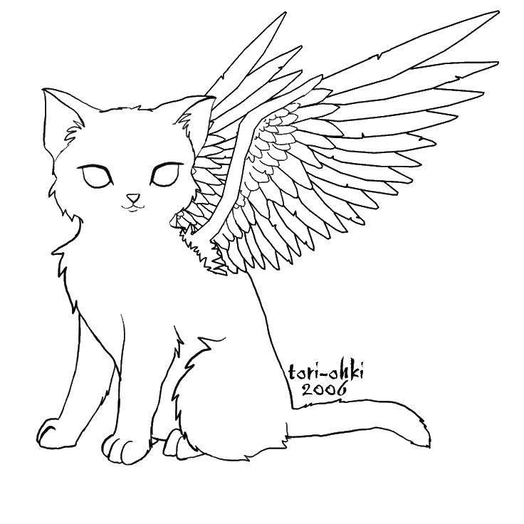 Раскраска Кошка с крыльями Скачать ,крылья, кошки, кошечка,.  Распечатать