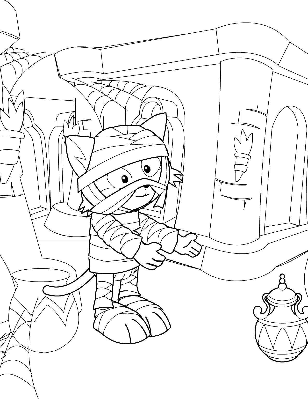 Раскраска Кот мумия. Скачать Мумия.  Распечатать ,Мумия,