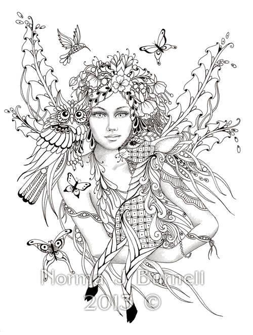 Раскраска Красивая девушка природа Скачать ,фэнтези, природа, девушка,.  Распечатать