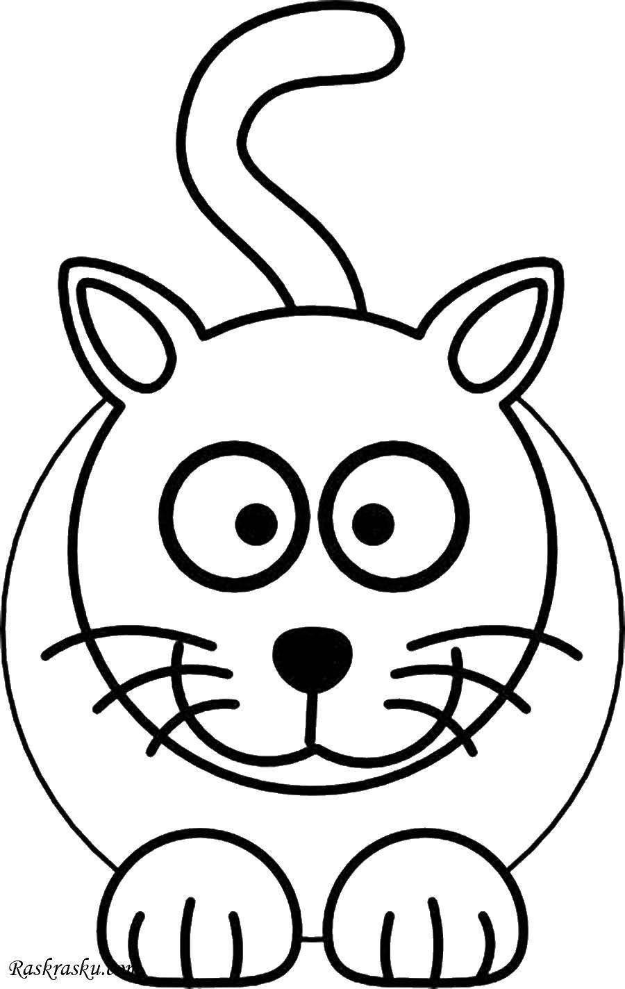 Раскраска Круглый кот. Скачать кот, круг, хвостик.  Распечатать ,котики,