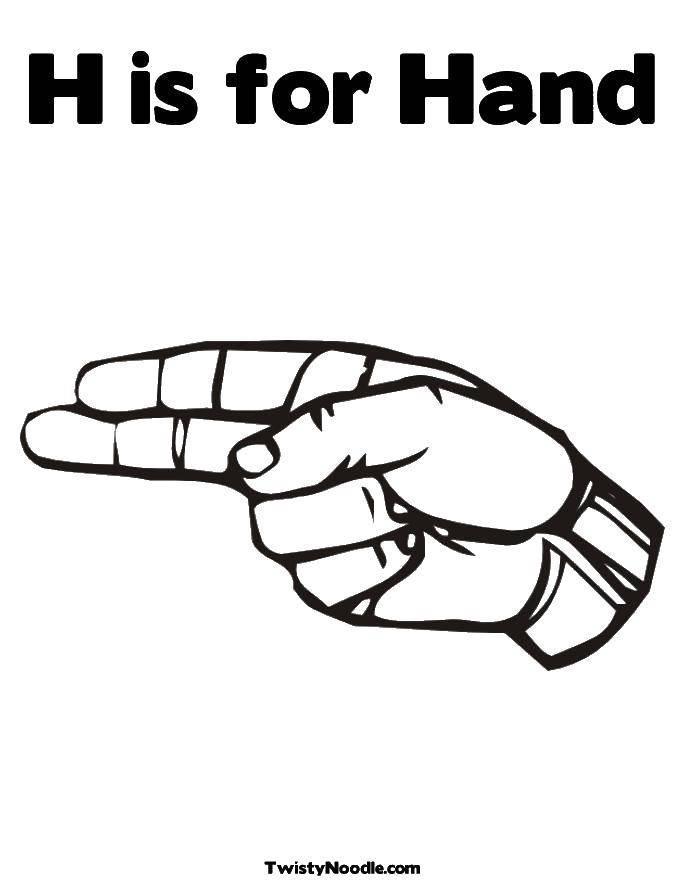 Раскраска Ладонь и два пальца. Скачать ладонь, пальцы.  Распечатать ,Контур руки и ладошки для вырезания,