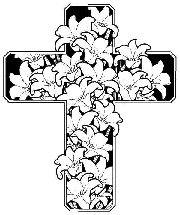 Раскраска Лилии в кресте. Скачать Крест.  Распечатать ,Крест,