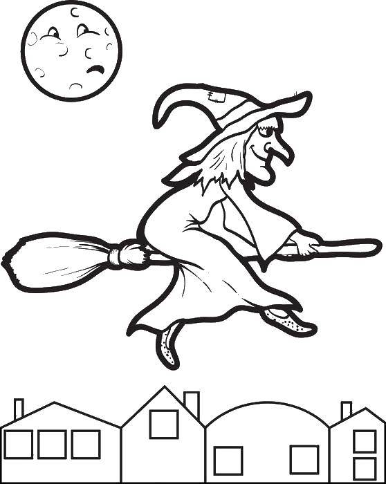 Раскраска Луна боится ведьмы. Скачать Хэллоуин, ведьма.  Распечатать ,ведьма,