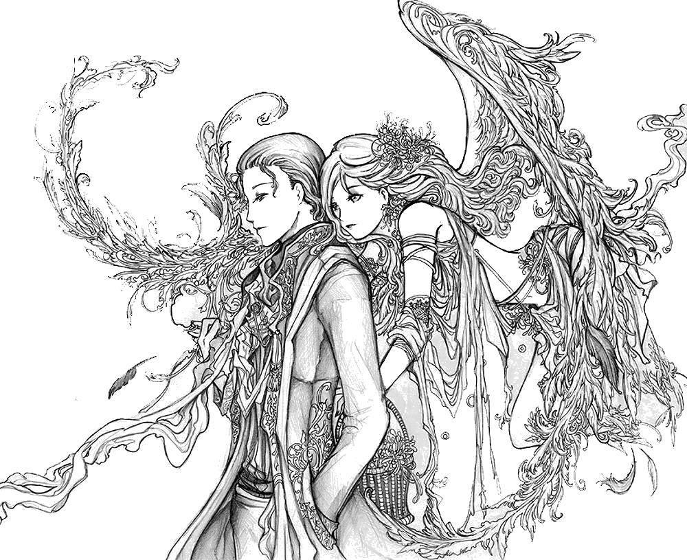 Раскраска Любовь эльфов Скачать Эльфы.  Распечатать ,Фэнтези,
