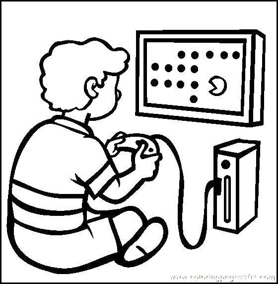 Раскраска Мальчик играет в видеоигры Скачать игры, видео, мальчик.  Распечатать ,игры,