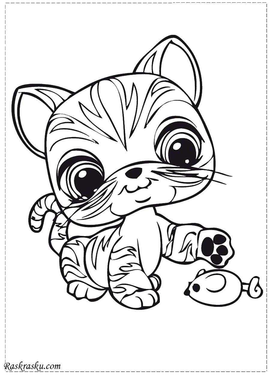 Раскраска Маленький котенок и мышка. Скачать котенок, мышка.  Распечатать ,котики,