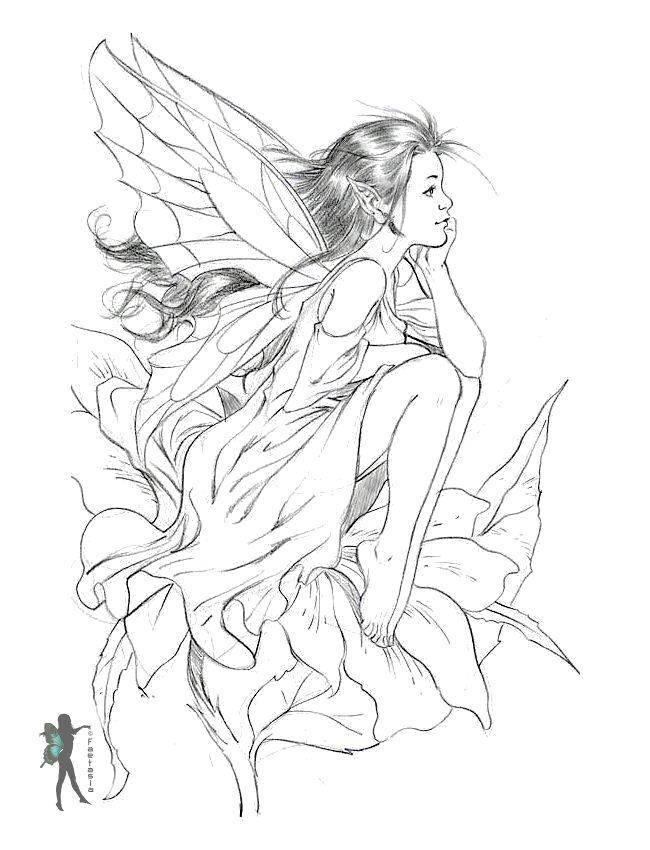Раскраска Мечтательная эльфийка Скачать Эльфы.  Распечатать ,Фэнтези,